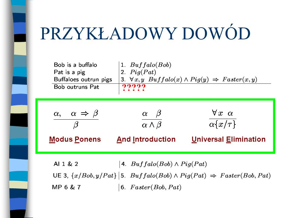 PRZYKŁADOWY DOWÓD Modus Ponens And Introduction Universal Elimination