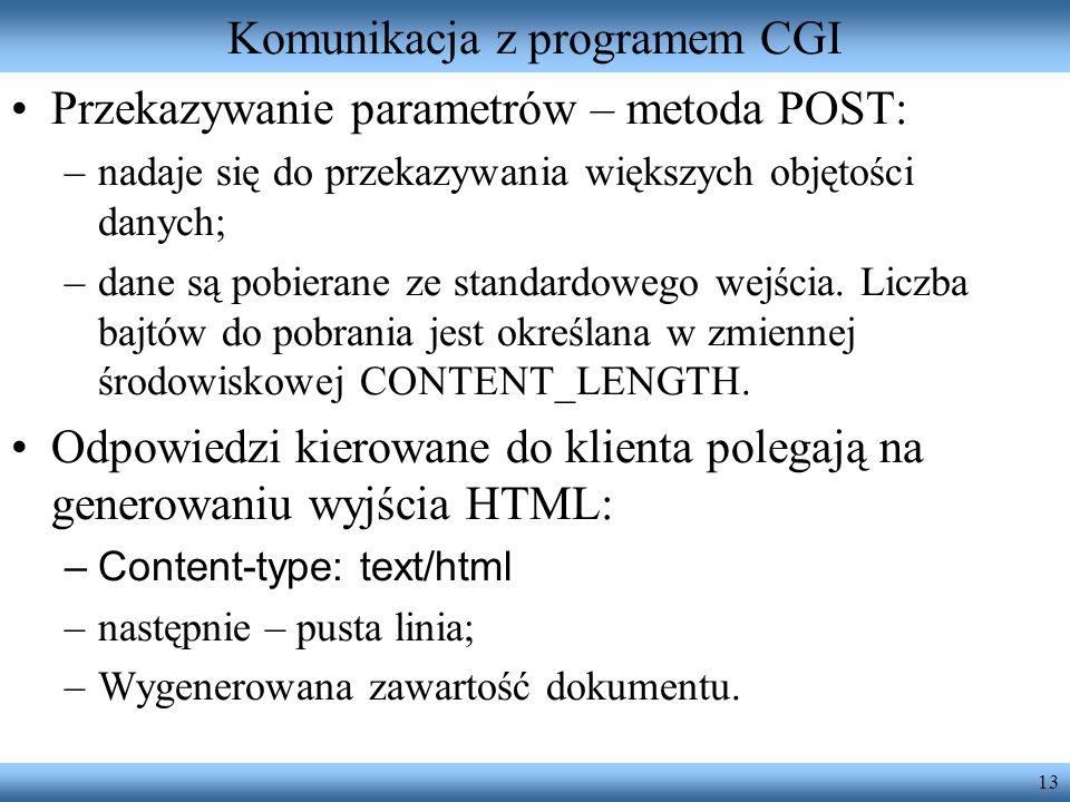 Komunikacja z programem CGI
