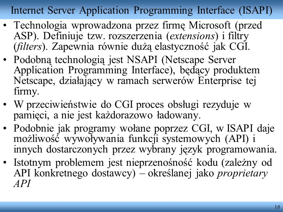 Internet Server Application Programming Interface (ISAPI)