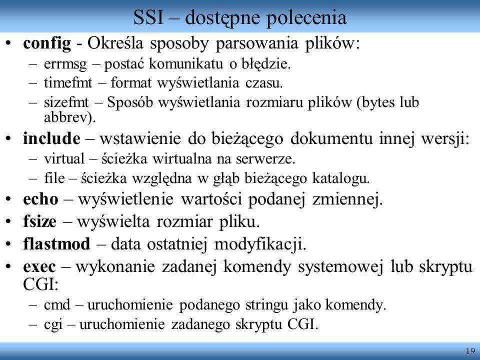 SSI – dostępne polecenia
