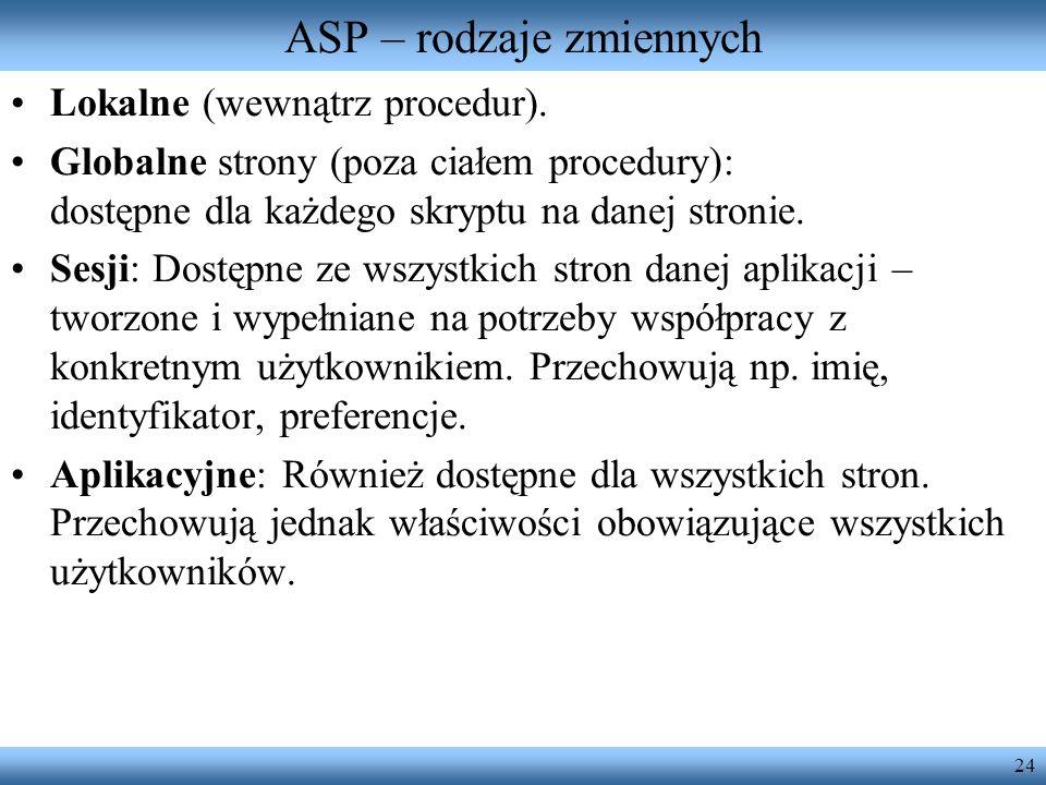 ASP – rodzaje zmiennych