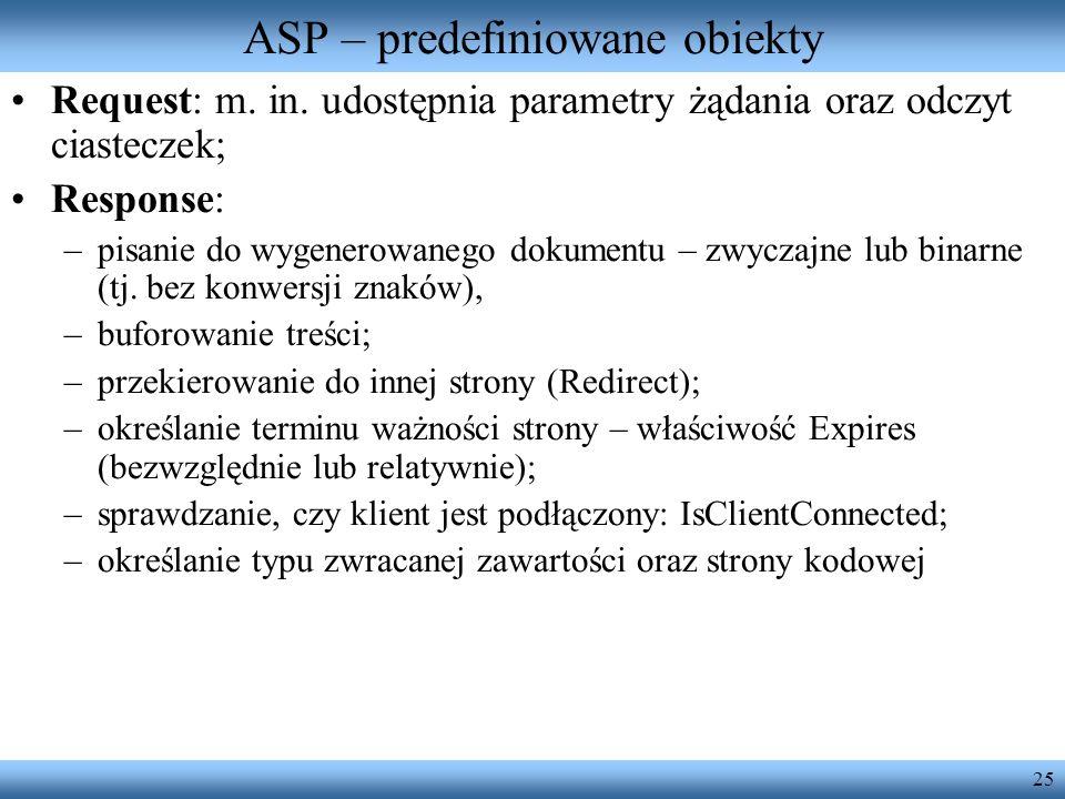 ASP – predefiniowane obiekty