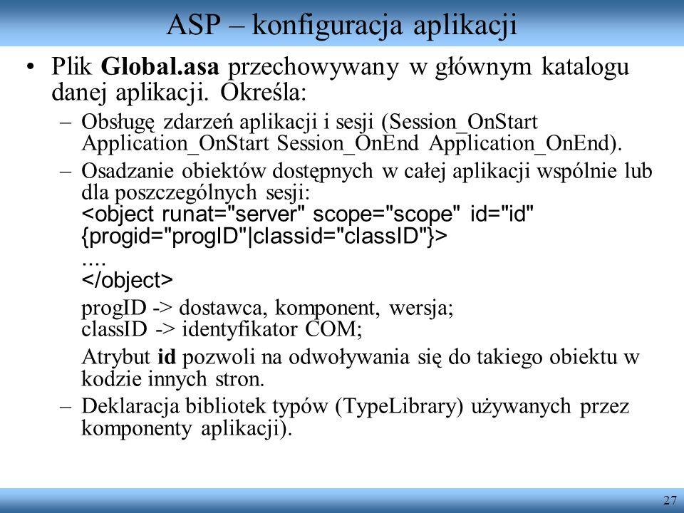 ASP – konfiguracja aplikacji