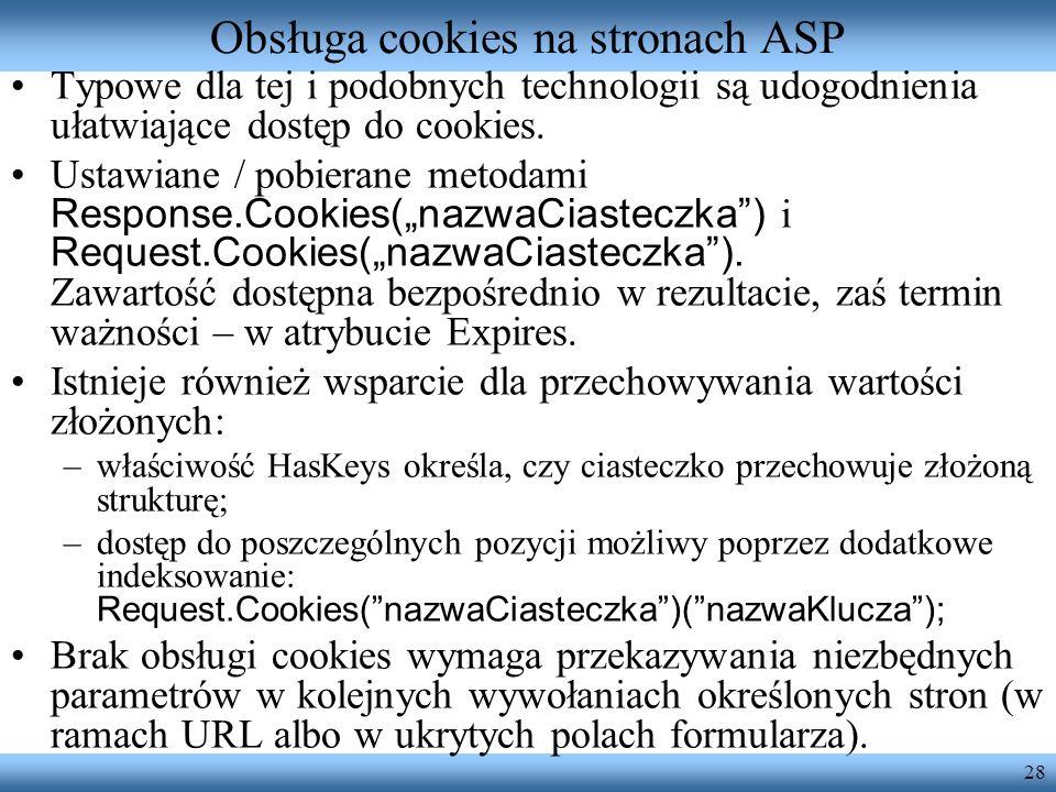 Obsługa cookies na stronach ASP