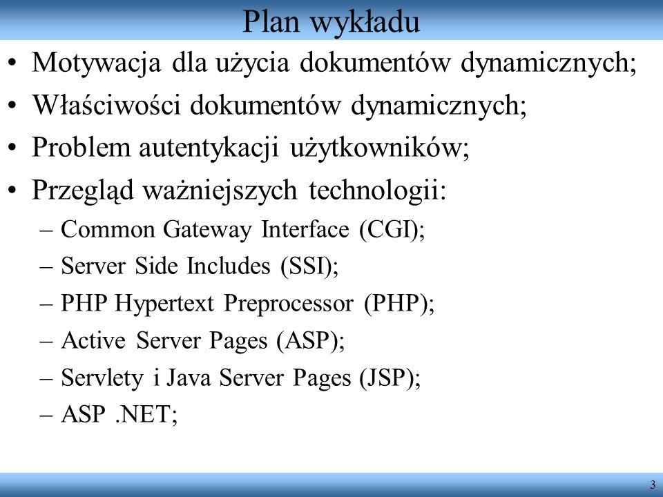 Plan wykładu Motywacja dla użycia dokumentów dynamicznych;