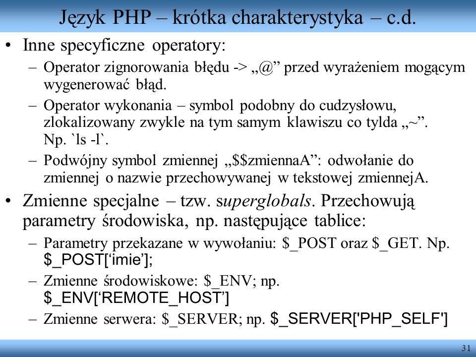 Język PHP – krótka charakterystyka – c.d.