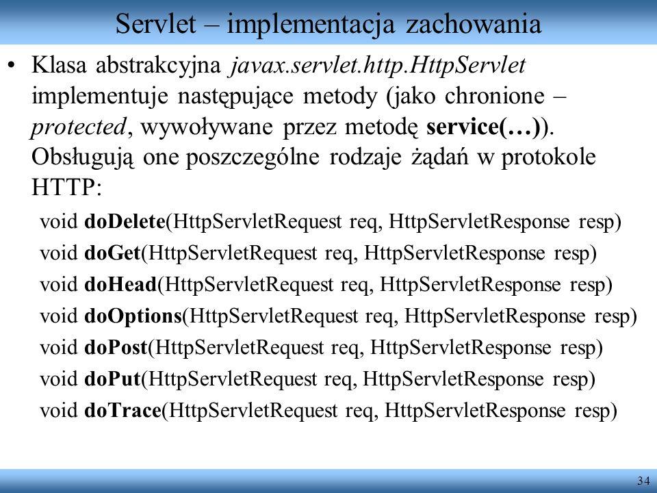Servlet – implementacja zachowania
