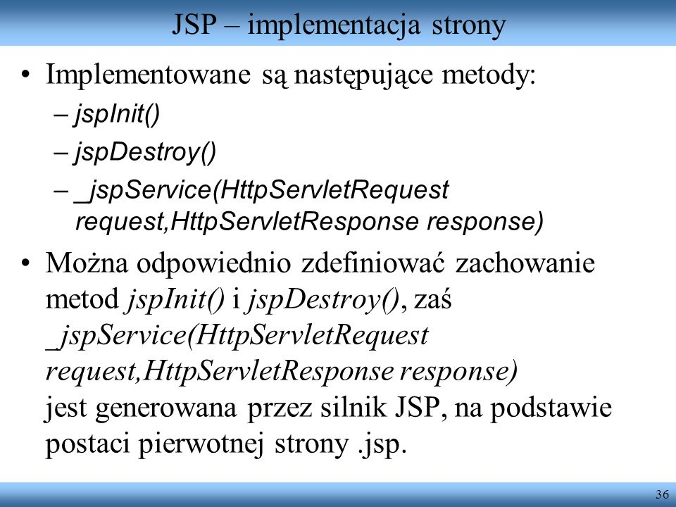 JSP – implementacja strony
