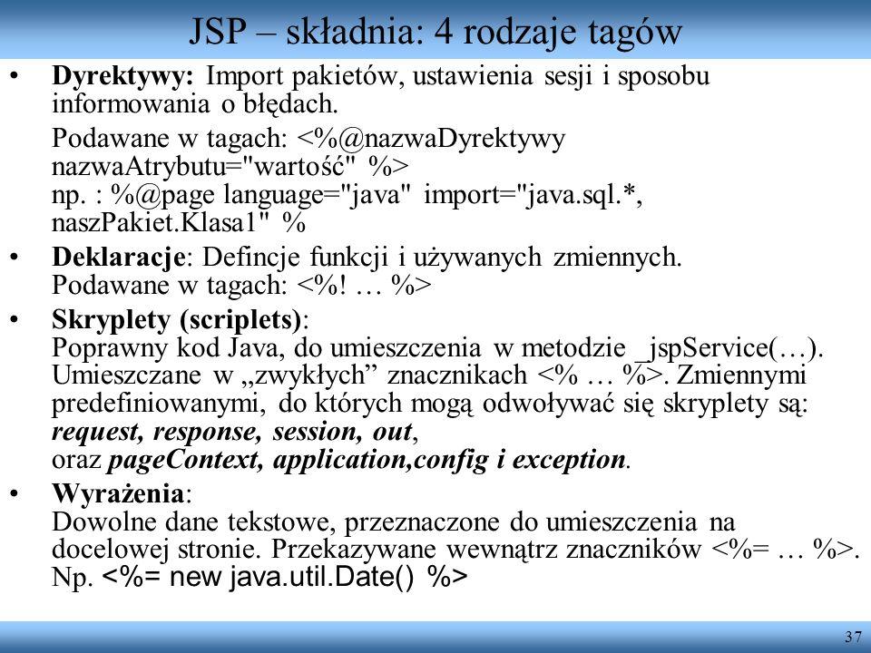 JSP – składnia: 4 rodzaje tagów