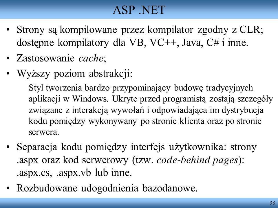 ASP .NETStrony są kompilowane przez kompilator zgodny z CLR; dostępne kompilatory dla VB, VC++, Java, C# i inne.
