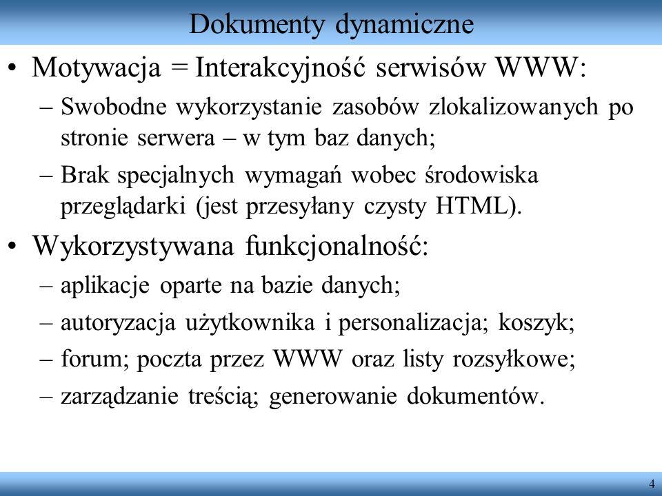 Motywacja = Interakcyjność serwisów WWW: