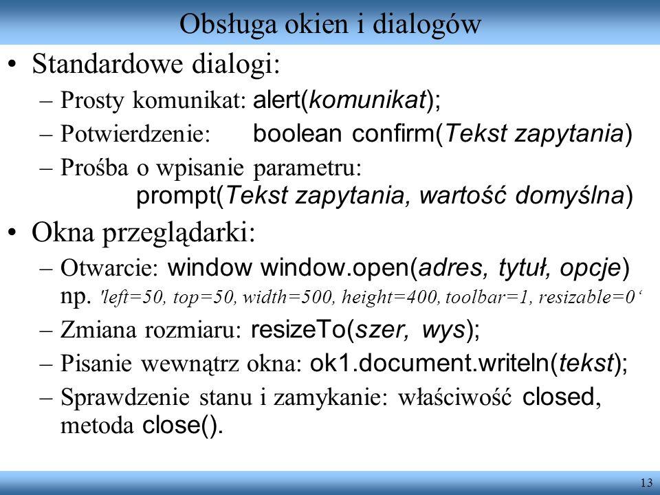Obsługa okien i dialogów