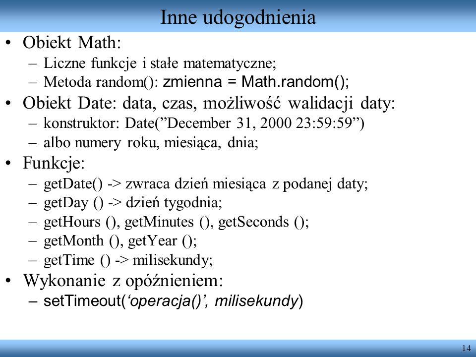 Inne udogodnienia Obiekt Math: