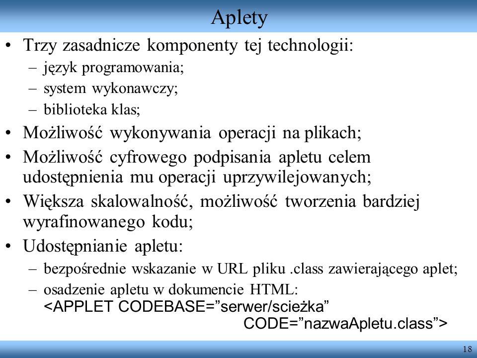 Aplety Trzy zasadnicze komponenty tej technologii: