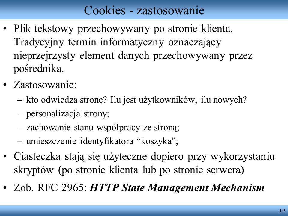 Cookies - zastosowanie