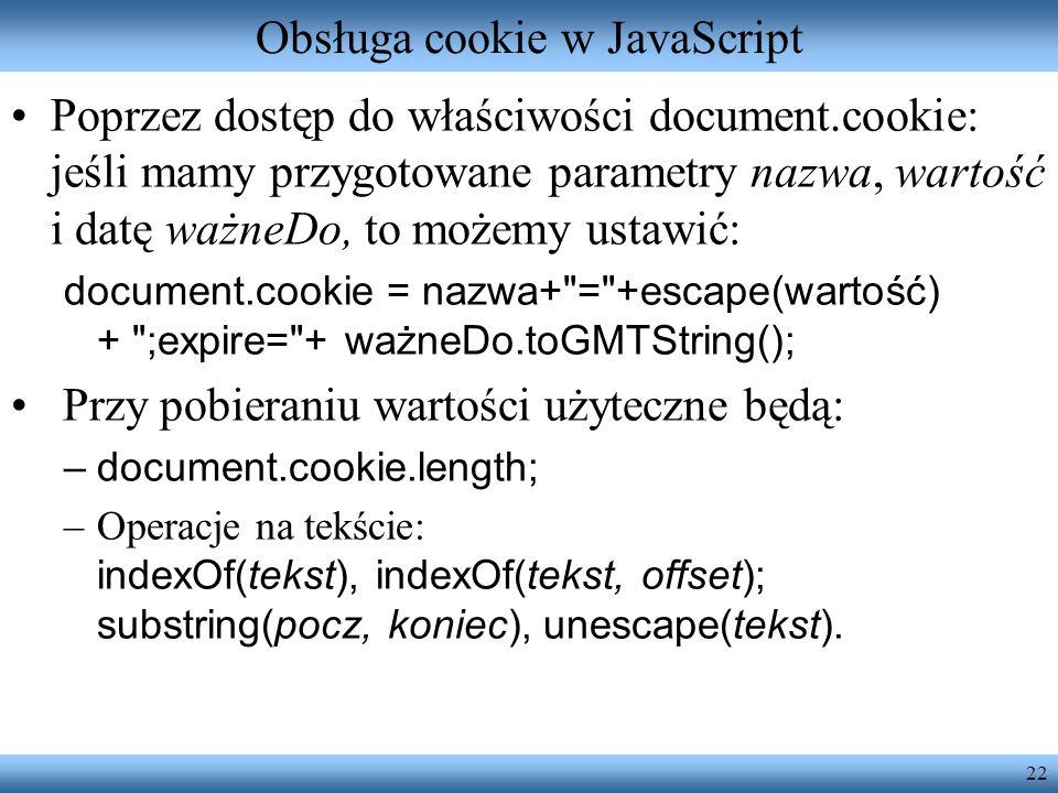Obsługa cookie w JavaScript