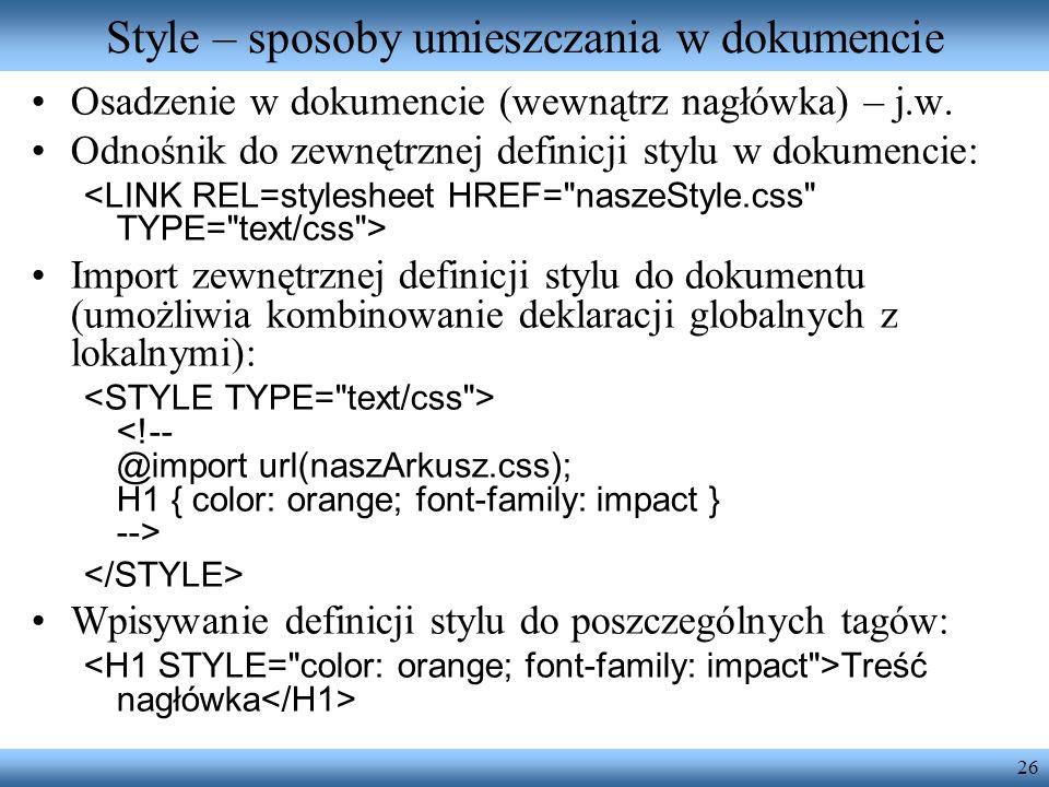Style – sposoby umieszczania w dokumencie