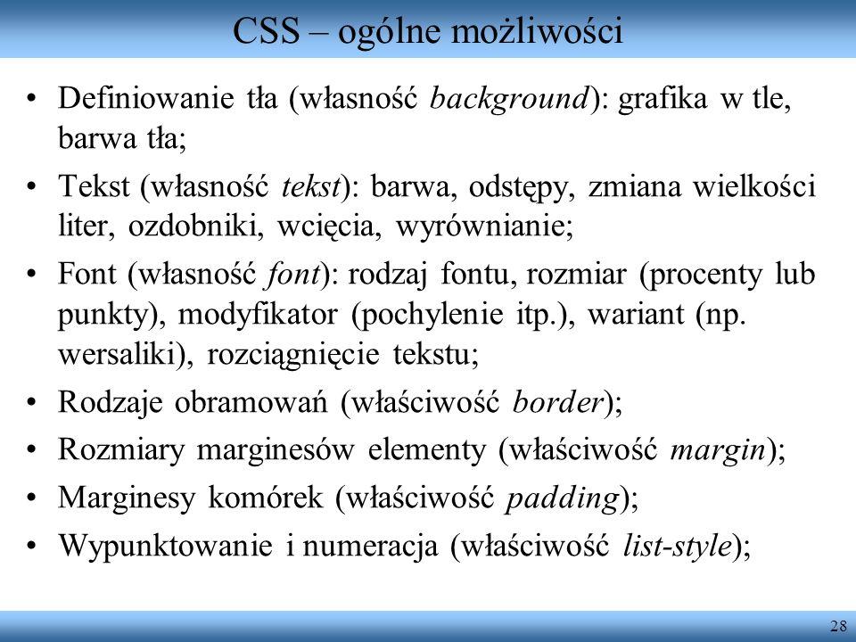 CSS – ogólne możliwości