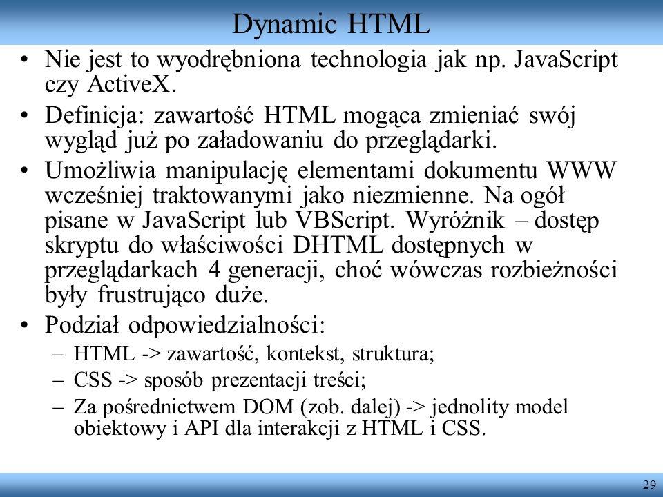 Dynamic HTML Nie jest to wyodrębniona technologia jak np. JavaScript czy ActiveX.