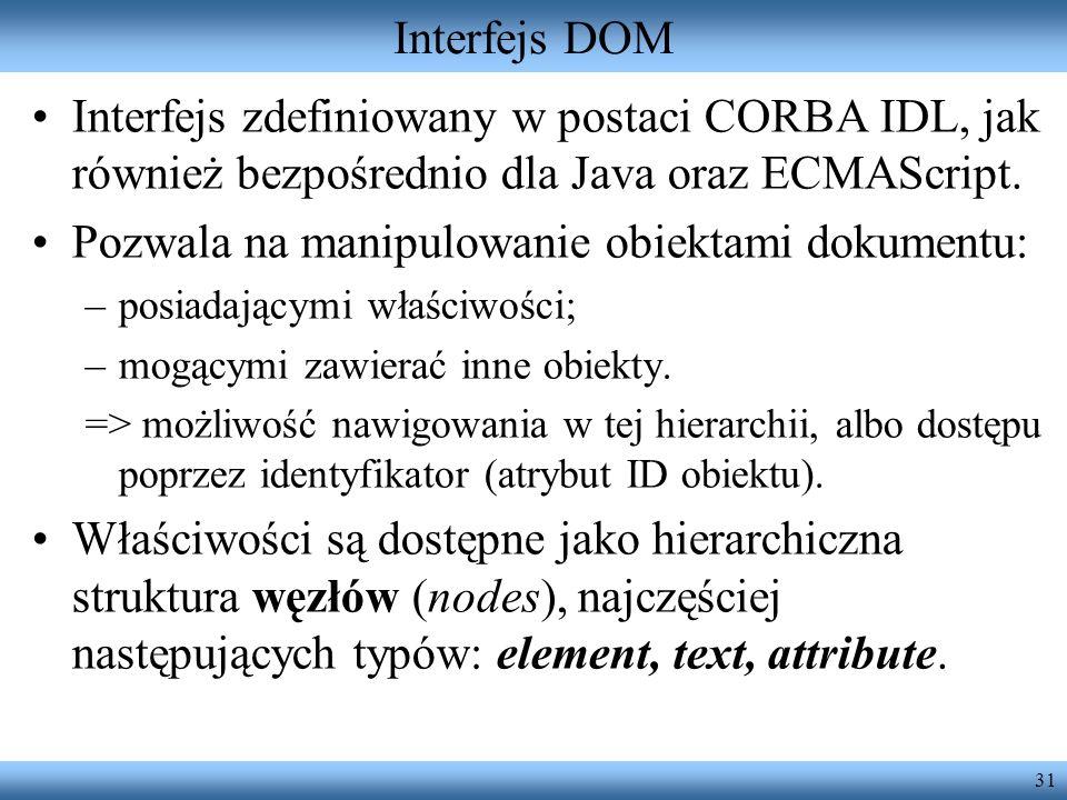 Pozwala na manipulowanie obiektami dokumentu: