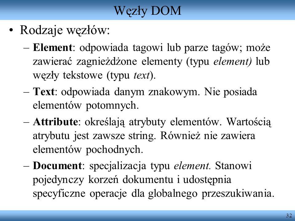 Węzły DOM Rodzaje węzłów: