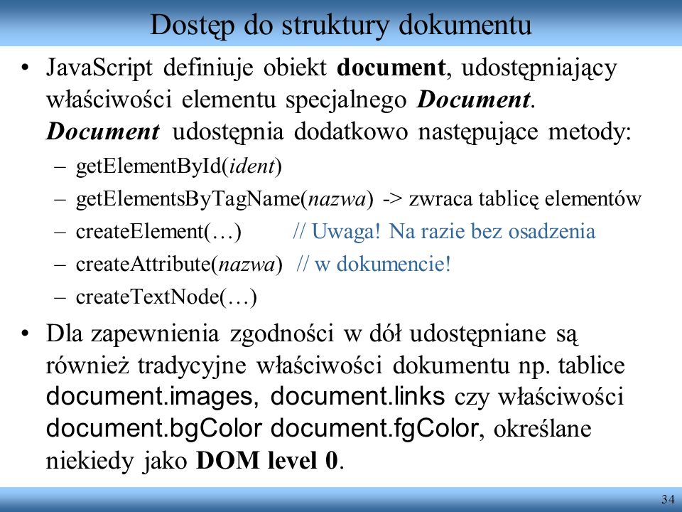 Dostęp do struktury dokumentu