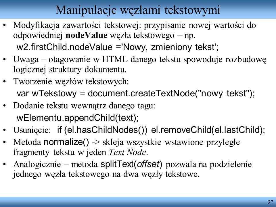 Manipulacje węzłami tekstowymi