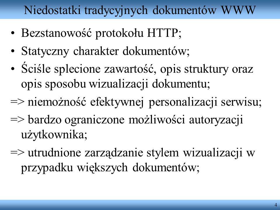 Niedostatki tradycyjnych dokumentów WWW
