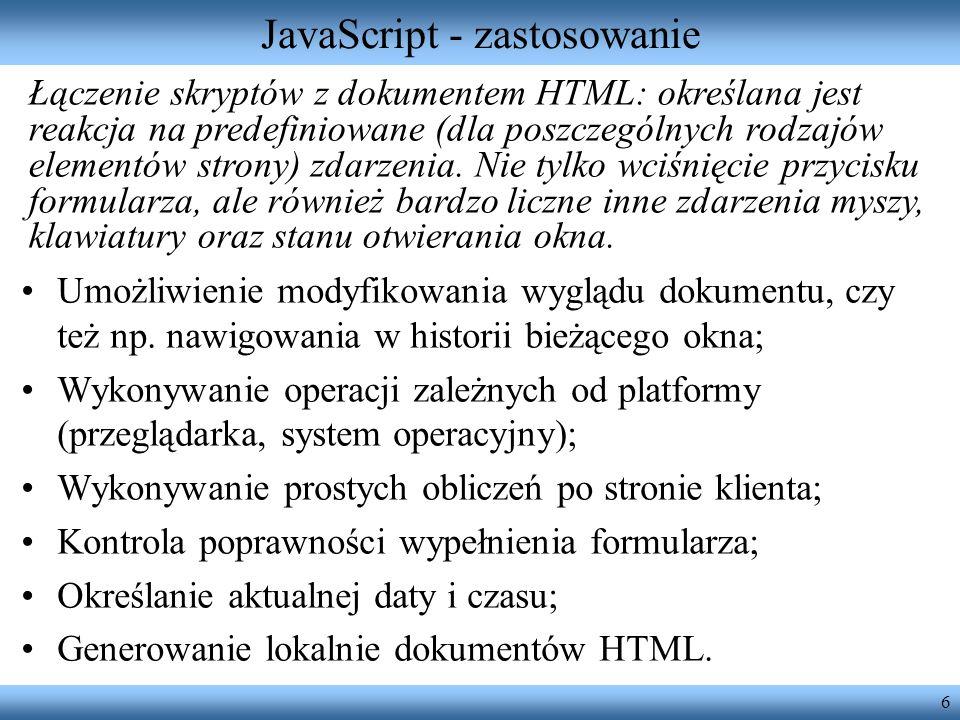JavaScript - zastosowanie