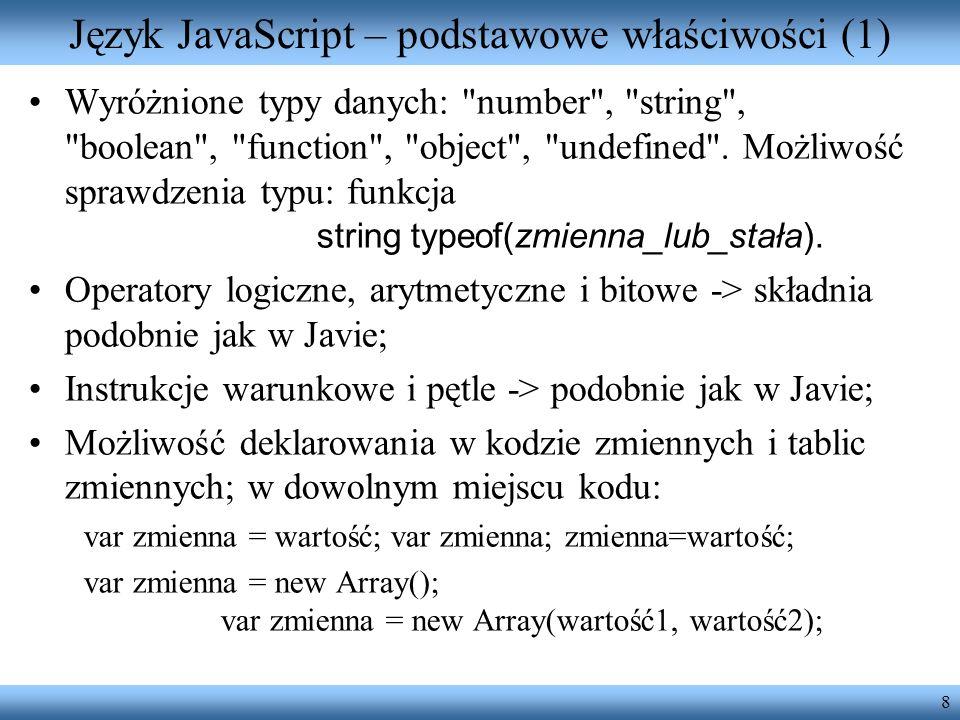 Język JavaScript – podstawowe właściwości (1)