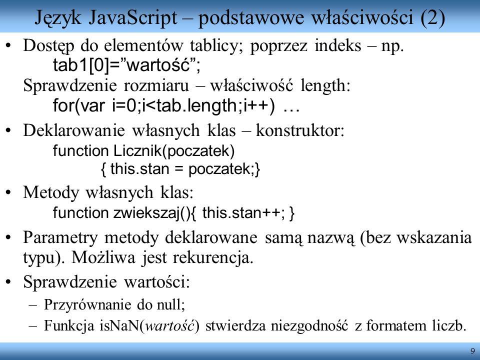 Język JavaScript – podstawowe właściwości (2)