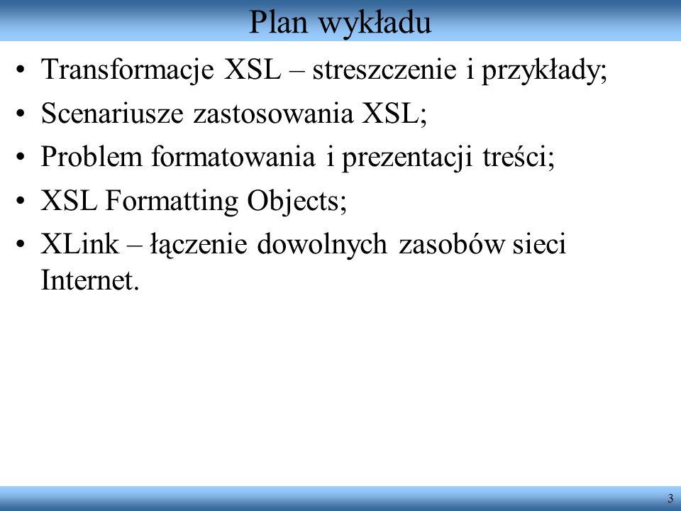 Plan wykładu Transformacje XSL – streszczenie i przykłady;