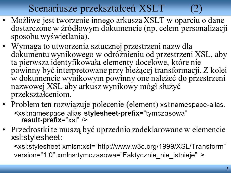 Scenariusze przekształceń XSLT (2)