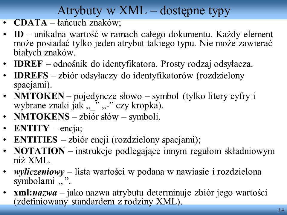 Atrybuty w XML – dostępne typy