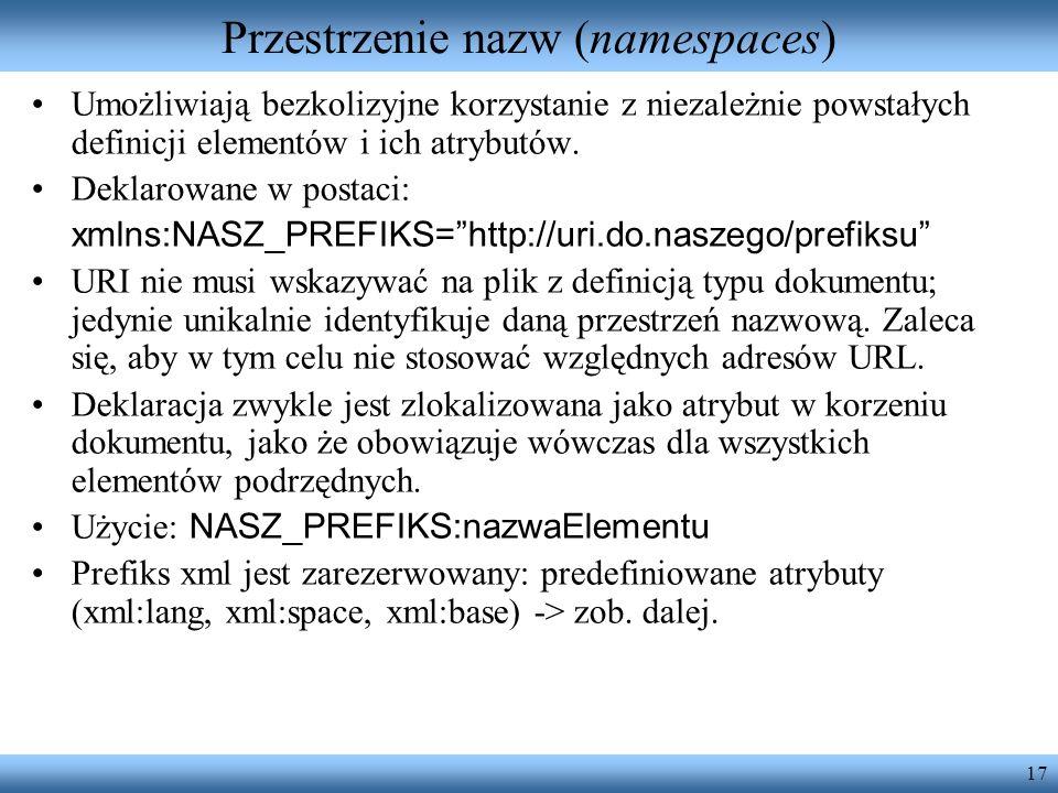 Przestrzenie nazw (namespaces)