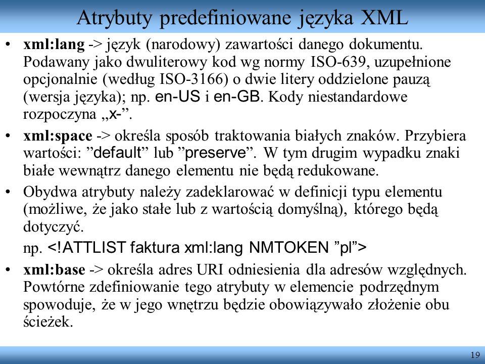 Atrybuty predefiniowane języka XML