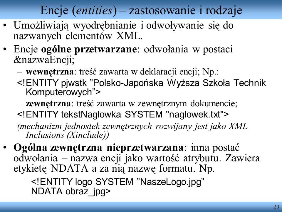 Encje (entities) – zastosowanie i rodzaje
