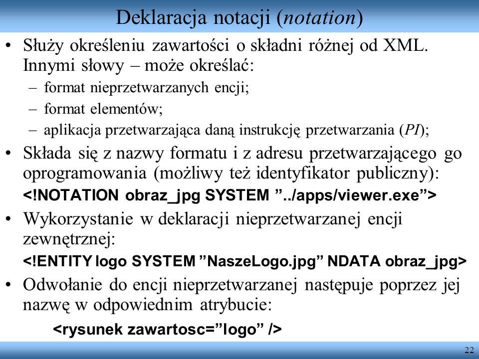 Deklaracja notacji (notation)