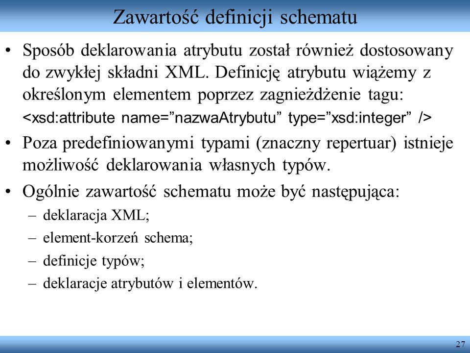 Zawartość definicji schematu