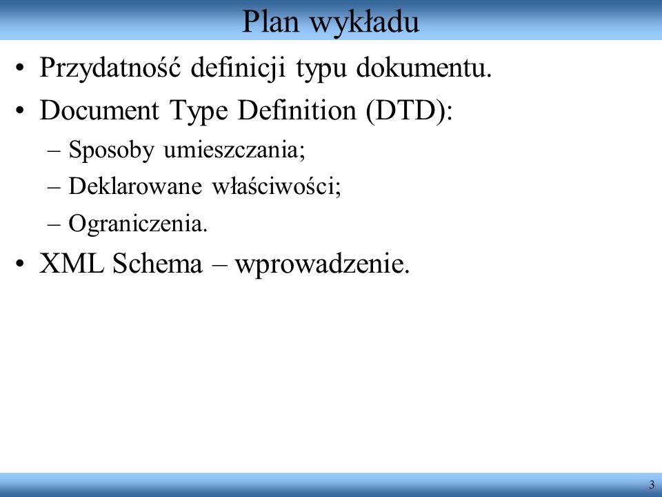 Plan wykładu Przydatność definicji typu dokumentu.
