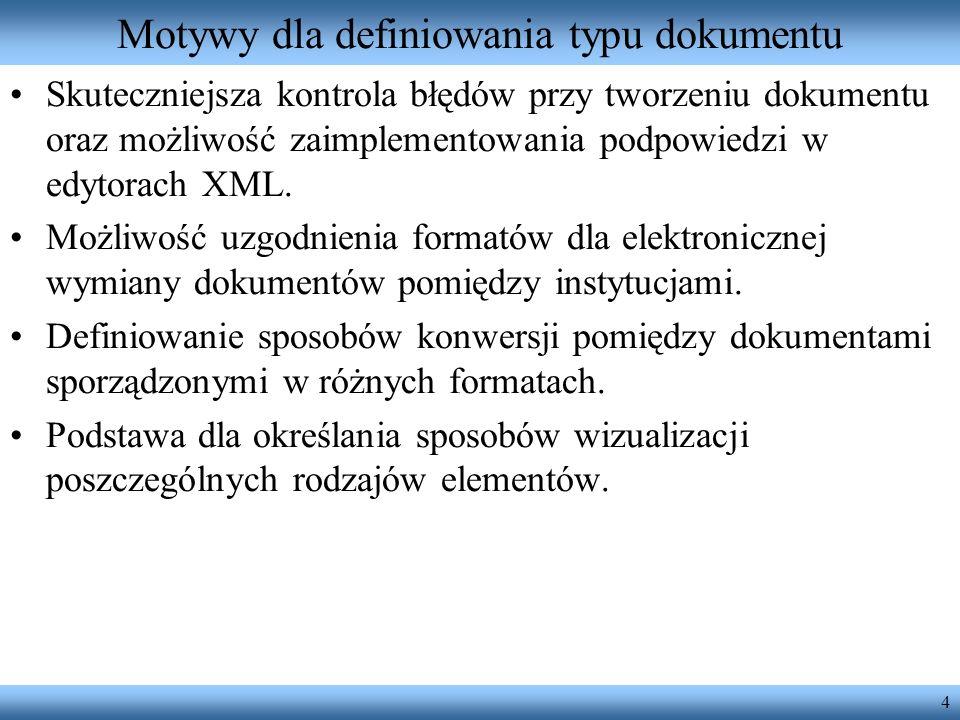 Motywy dla definiowania typu dokumentu