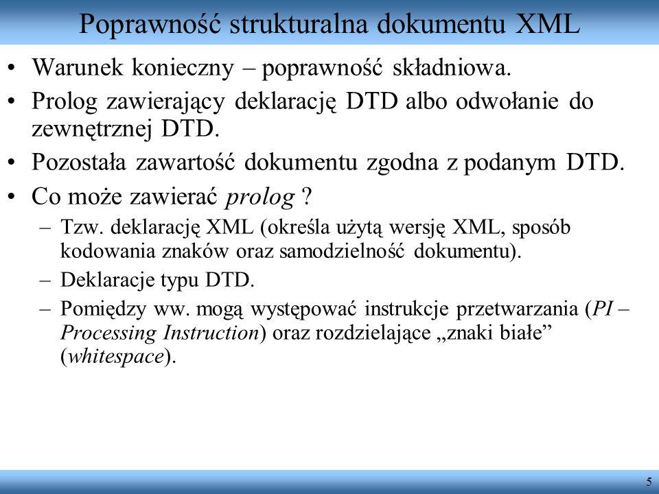 Poprawność strukturalna dokumentu XML