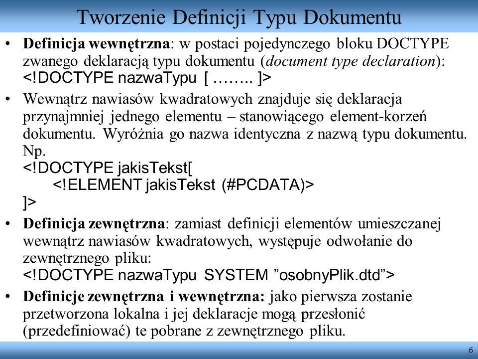 Tworzenie Definicji Typu Dokumentu