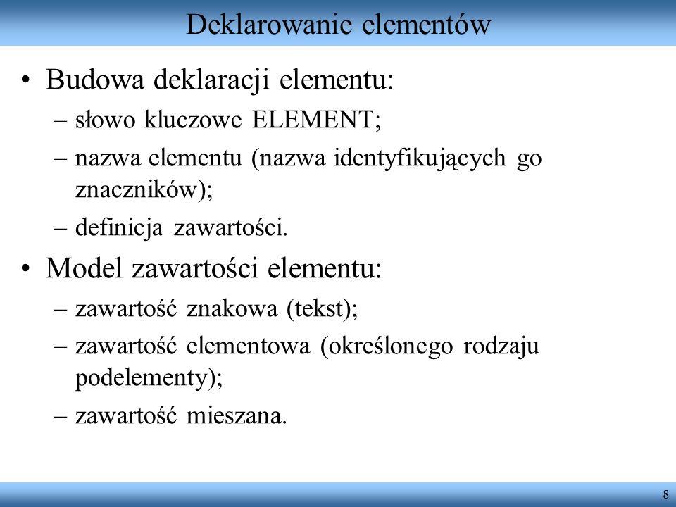 Deklarowanie elementów