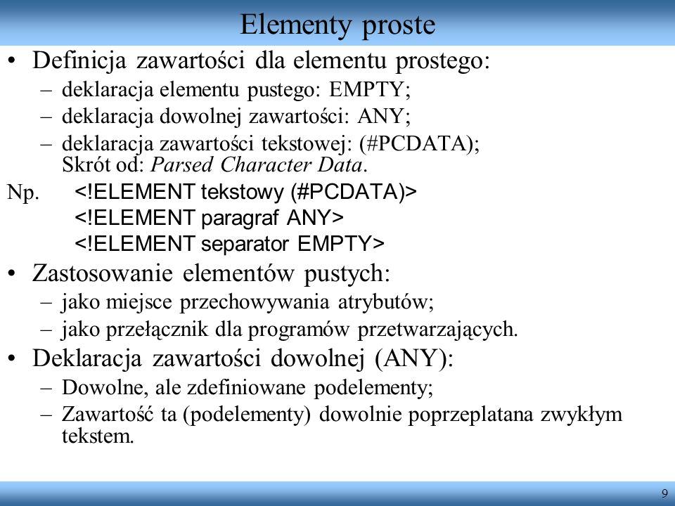 Elementy proste Definicja zawartości dla elementu prostego: