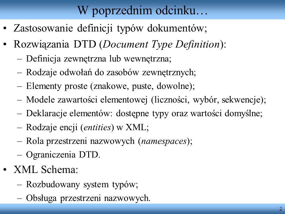 W poprzednim odcinku… Zastosowanie definicji typów dokumentów;