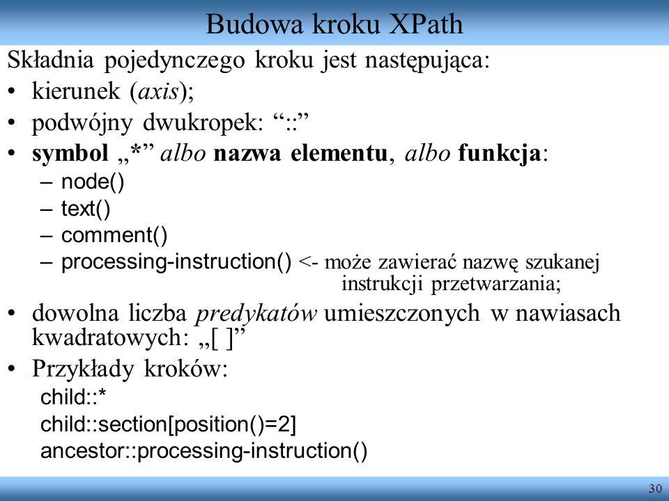 Budowa kroku XPath Składnia pojedynczego kroku jest następująca: