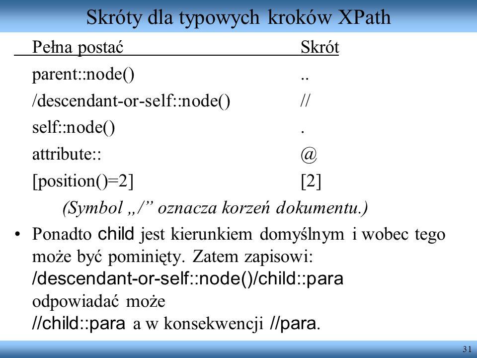 Skróty dla typowych kroków XPath
