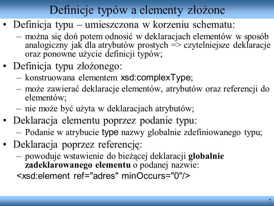 Definicje typów a elementy złożone