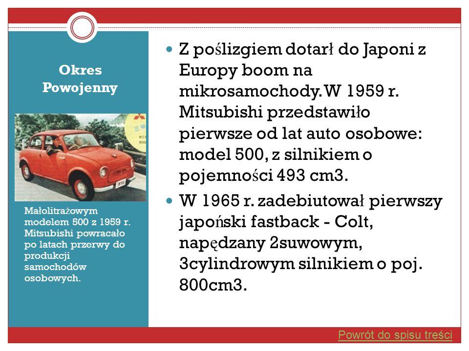 Z poślizgiem dotarł do Japoni z Europy boom na mikrosamochody. W 1959 r. Mitsubishi przedstawiło pierwsze od lat auto osobowe: model 500, z silnikiem o pojemności 493 cm3.